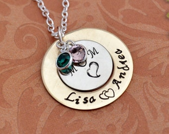Personalized Mother's Day Necklace, Hand Stamped Jewelry, Custom Neckace, Mom, Mommy, Mother