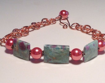 Ruby Fuchsite and Copper Adjustable Bracelet with Ruby Pearls, Fits a Wrist Size of 6.25 Inches to 7.75 Inches Previously 35 Dollars ON SALE