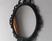 Ornate Black Mirror in 17x12 Vintage Metal Frame, Black Bathroom Mirror, Victorian Gothic, Apartment Decorations, Home Decor Wall Art
