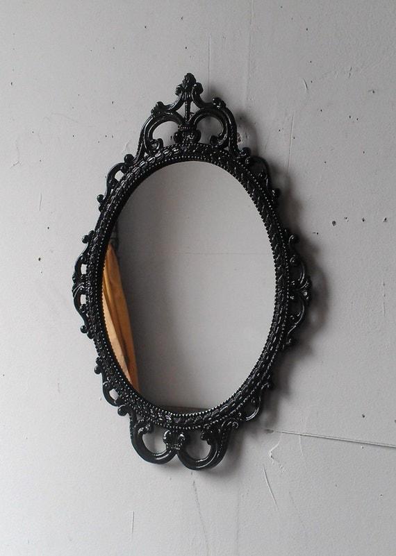 Ornate Black Mirror In 17x12 Vintage Metal Frame Black