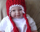 Hand Crocheted..CHRISTMAS...Winter.... Red & White Earflap Hat...Braids and Super Pom......0 to.3 month size.... Ready to Ship