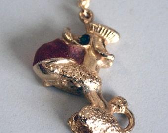 Vintage poodle pendant, poodle necklace, vintage pendant, gold pendant, poodle figurine, gold necklace, vintage necklace, dog jewellery
