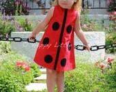 Girls Dress. Ladybug A Line Dress for Girls.