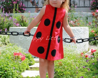 Girls Dress. Ladybug A Line Dress for Girls.