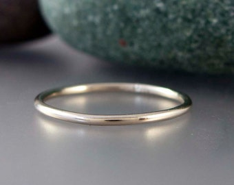 14k White Gold Skinny Stacking Ring - 1.3mm wide wedding band - Choice of textures