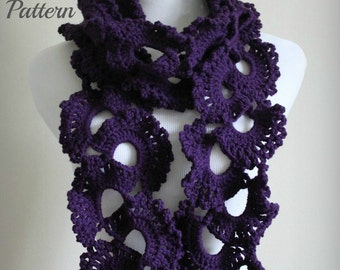 CROCHET PATTERN - Queen Anne's Lace Scarf Pattern, Crochet Scarf Pattern, Lace Scarf Pattern