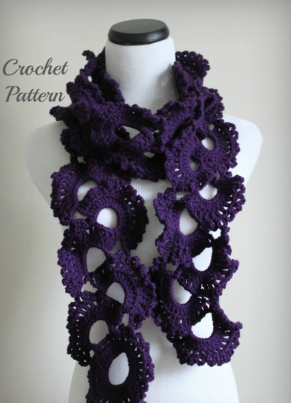 PATTERN PDF Queen Annes Lace Scarf Pattern, Crochet Scarf Pattern ...