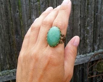 Green Aventurine - Gemstone Ring with Filigree Lace Adjustable Band - Large Stone Ring - Boho Gypsy