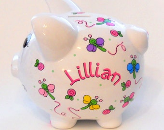 Personalized Piggy Bank Dragonflies and Flowers in Bright Pastels