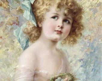 Girl with Bird's Nest Downloadable, Printable Digital Art Image Instant Download