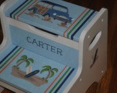 Kids Personalized 2 Step Stool  Surf's Up