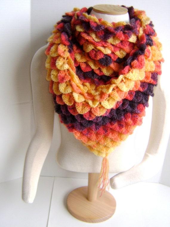 Crochet Crocodile Stitch Shawl - Unique One of a Kind Piece - Regular price 92