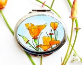 California Poppies pocket mirror, wedding accessory, floral mirror, painted mirror, pocket mirror compact HAND PAINTED