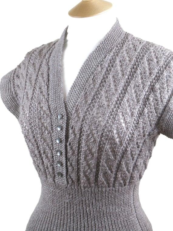 "34"" Chest SALE.  1950s-Style Handknit Cap-Sleeve Jumper. 50s Sweater"