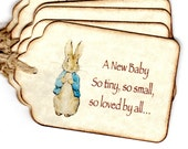 20 Baby Shower Favor Tags, Peter Rabbit Gift Tags, Birthday Christening Baptism Favor Tags, Escort Place Card Tags - Vintage Style
