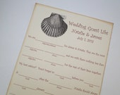 Wedding Guest Book Alternative Mad-Lib Cards - Set of 50 - Beach Shell Birdcage Cards