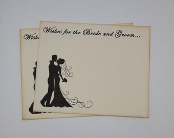Wedding Guest Book Alternative Cards - Set of 50 - Bride and Groom Silhouette