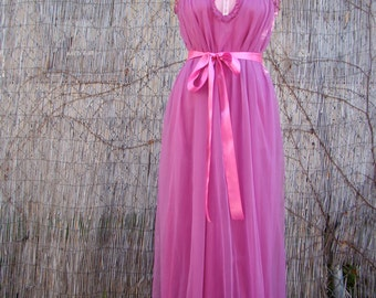 Vintage 60s / Hot Pink / Cupcake / Lace and Ribbon / Chiffon / Dolly / Maxi / Nightgown / SMALL