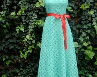 Vintage 60s / Mint Green / Lace / Goddess / Maxi / Dress / SMALL