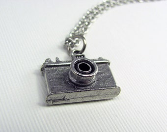 Silver Camera Necklace - Photography Necklace, Photographer Gift, Shutterbug, Photo, Instagram, Tourist, Hobby, Charm, Gift Under 20
