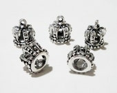 Crown Antique Silver Plated  3 Dimensional  Charms (6) Pieces Diy Craft Supplies