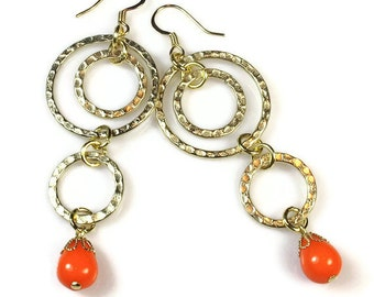 Flirty Modern Dangle Earrings, Neon Orange Tangerine, Statement Earrings