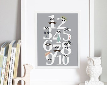 8x10 - Numbers Nursery Art Print - 'Mister Numbers'