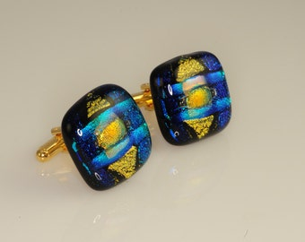 Artist Series Dichroic Glass Cufflinks Stunning Colors OOAK Part of matching Set of His and Hers  O-76