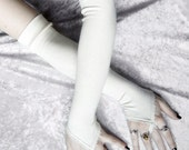 Cabriole Arm Warmers - Ivory Cream Bamboo Cotton - Fingerloops - Gothic Wedding Regency Victorian Vampire Goth Burlesque Yoga Opera Evening