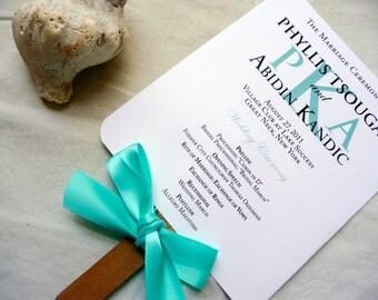 Wedding Program Fans, Beach Program Fans, Turquoise Blue Programs, Monogram Wedding Program Fan Sample