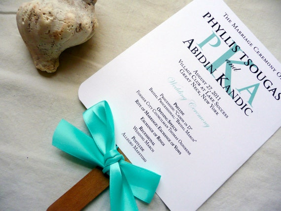 Wedding Program Fans Beach Program Fans Turquoise Blue