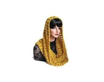 Infinity, Citrine Neckwarmer, Mens, Mustard Cowl, Womens Scarf, Medieval, Hood, Renaissance, Gold, Winter Accessories, Winter Fashion