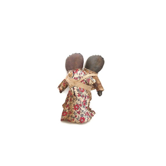 Black Americana, Doll, Primitive Doll, Black Doll, Mammy Doll, Negro, Patriotic, Faceless, Red, White, Cherries, Church Dolls, 1940's Fabric