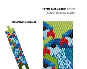 Ultramarine Lorikeet PDF peyote bracelet: Instant Downloadable Pattern PDF File