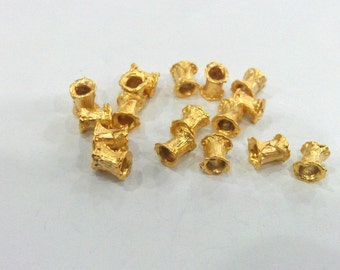 5 Tube Beads , Gold Plated Brass  G128