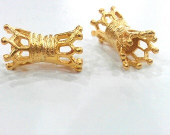 5 Pcs Tube Beads   ,   Gold Plated Brass G328