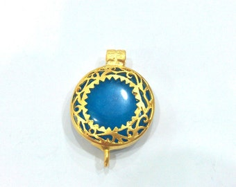 28 mm  Blue Pendant Connectors , Gold Plated Brass Bezel Pendant  G380