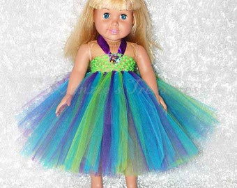 """Color Splash Tinkerbell Empire Waist Tutu Dress - Fits American Girl Dolls and other 18"""" Dolls"""