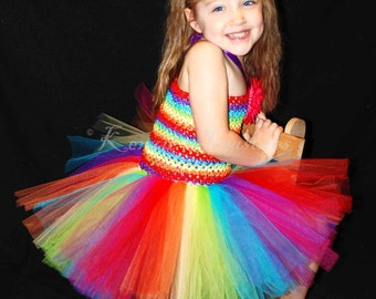 Rainbow Tutu Dress and Daisy Hair Clip Set - Size 2T to Girl's 6 - Can Be Worn Different Ways