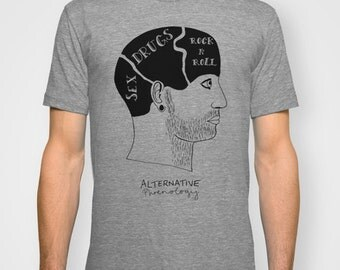 Alternative phrenology head Mens t-shirt hand printed
