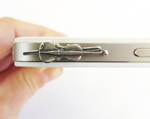 Violin iPhone & Cell Phone Dust Plug- Cellphone/ iPhone Accessories- Sterling Silver Finish