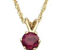 Gorgeous 14k Gold Round Ruby Pendant, Ruby Jewelry, Ruby Birthstone Necklace