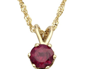 14k Gold Round Ruby Pendant, Ruby Jewelry, Ruby Wedding Necklace, Ruby Birthstone Necklace, Ruby Necklace, Gold Ruby Necklace, Ruby Pendant