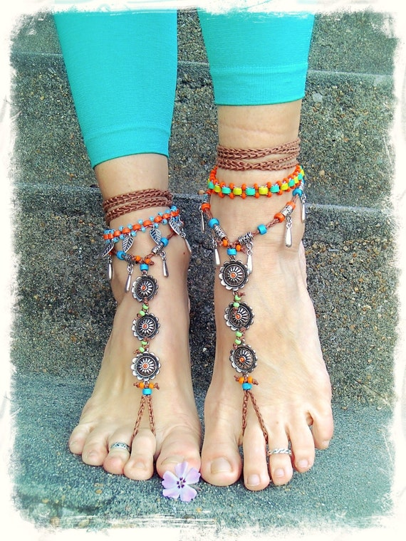 boho wedding shoes festival barefoot bohemian wedding sandals crochet anklets 2012