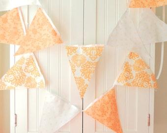 Bunting Banner, Fabric Pennant Flags, Nectarine, Soft Peach, Baby Shower Banner, Wedding Garland, Photo Prop, Nursery Decor, Birthday