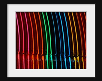 Photo, Carnival Lights, Fine Art Photography, Neon, Rainbow Stripes, Modern Wall Art, Carnival Decor, Abstract Photo, 8 x 10 Print, Abstract