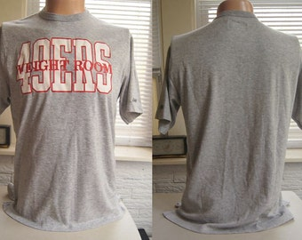 Vintage SAN FRANCiSCo 49ers T SHiRT WEiGHT ROOM NFL Football Gray Bike (44 inches around chest)