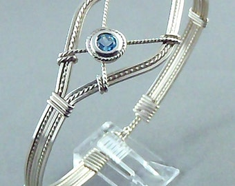 Blue Topaz Sterling Silver Wire Sculpted Gemstone Bangle