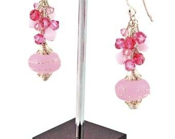 Genie in a Bottle Pink Lampwork Swarovski Crystal Sterling Silver Earrings
