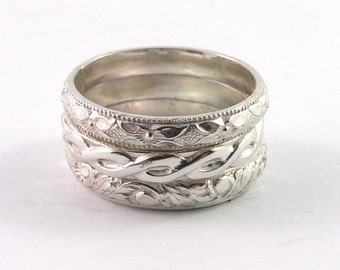 Patterned Set of 3 Sterling Silver Stacking Ring